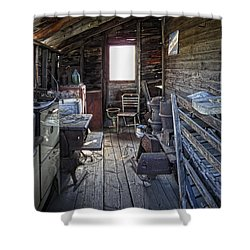 Molson Ghost Town Storage Shed Shower Curtain by Daniel Hagerman