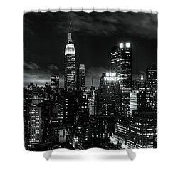 Monochrome City Shower Curtain by Andrew Paranavitana