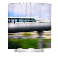 Monorail Carriage Shower Curtain by Carlos Caetano