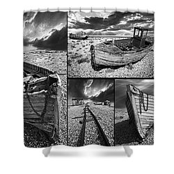 Montage Of Wrecked Boats Shower Curtain by Meirion Matthias