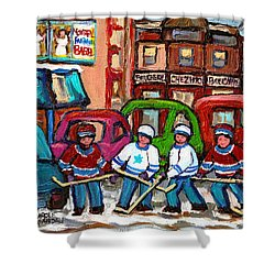 Montreal Bagels And Hockey Shower Curtain by Carole Spandau