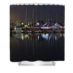 Moon Over The Marina Shower Curtain by Heidi Smith