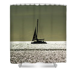 Moonlight Sail Shower Curtain by Rene Triay Photography
