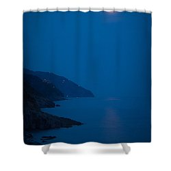 Moonrise Over Vernazza Shower Curtain by Doug Sturgess