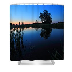 Morning Pond In Blue Shower Curtain by Jiayin Ma