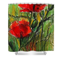Morning Poppies Shower Curtain by Mona Edulesco