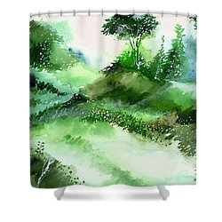 Morning Walk 1 Shower Curtain by Anil Nene