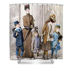 Mother And Children In Walking Dress  Shower Curtain by Jules David