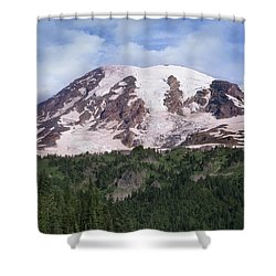 Mount Rainier With Coniferous Forest Shower Curtain by Tim Fitzharris