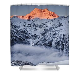 Mount Rolleston In The Dawn Light Shower Curtain by Colin Monteath