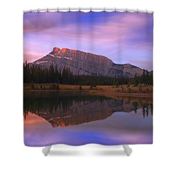 Mount Rundle And The Cascade Ponds In Shower Curtain by Carson Ganci