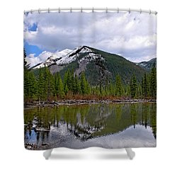Mountain Pond Reflection Shower Curtain by Roderick Bley
