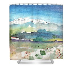 Mountains By Agia Galini Shower Curtain by Miki De Goodaboom