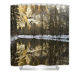 Mountains Reflecting In Merced River In Shower Curtain by Robert Brown