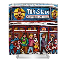 Mr Steer Restaurant Montreal Shower Curtain by Carole Spandau