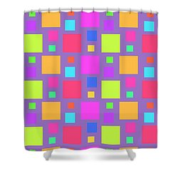Multicoloured Squares Shower Curtain by Louisa Knight