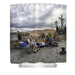 Musicians On The Charles Bridge - Prague Shower Curtain by Madeline Ellis