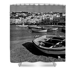 Mykonos Boats Shower Curtain by Eric Tressler