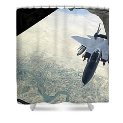 N F-15e Strike Eagle Receives Fuel Shower Curtain by Stocktrek Images