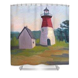 Nauset Lighthouse Cape Cod Shower Curtain by Suzanne Elliott