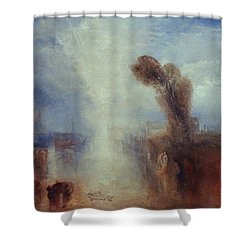 Neapolitan Fisher-girls Surprised Bathing By Moonlight Shower Curtain by Joseph Mallord William Turner