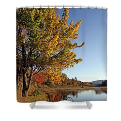 New Mills Meadow Pond Shower Curtain by Juergen Roth