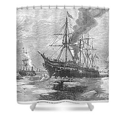 New York Harbor: Ice, 1881 Shower Curtain by Granger