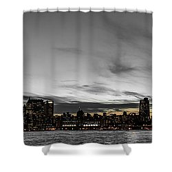 New Yorks Skyline At Night Colorkey Shower Curtain by Hannes Cmarits