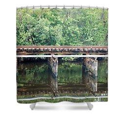 North Fork River Bridge Shower Curtain by Rob Hans