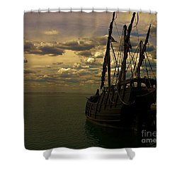 Notorious The Pirate Ship Shower Curtain by Blair Stuart