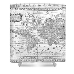 Nova Totius Terrarum Orbis Geographica Ac Hydrographica Tabula Shower Curtain by Dutch School