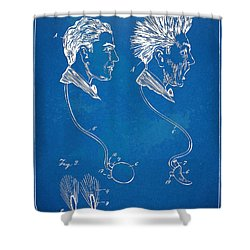 Novelty Wig Patent Artwork Shower Curtain by Nikki Marie Smith