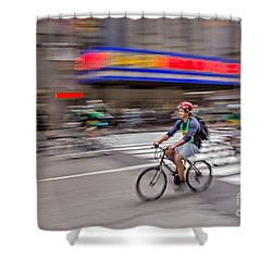 Nyc Bike Tour Shower Curtain by Susan Candelario