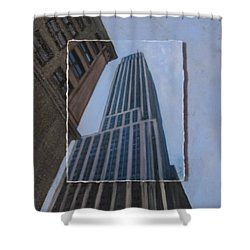 Nyc Severe Empire Layered Shower Curtain by Anita Burgermeister