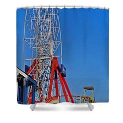 Oc Winter Ferris Wheel Shower Curtain by Skip Willits