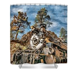 Of Mountain And Machine Shower Curtain by Jeff Kolker