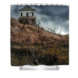 Old Farmhouse With Stormy Sky Shower Curtain by Jill Battaglia