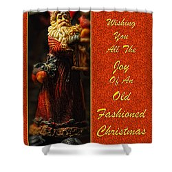 Old Fashioned Santa Christmas Card Shower Curtain by Lois Bryan