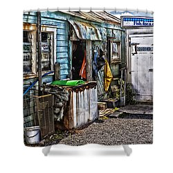 Old Fishing Store At Rawehe Shower Curtain by Avalon Fine Art Photography