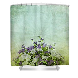 Old Grunge Paper Flowers Pattern Shower Curtain by Setsiri Silapasuwanchai