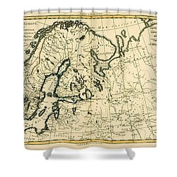 Old Map Of Northern Europe Shower Curtain by Guillaume Raynal