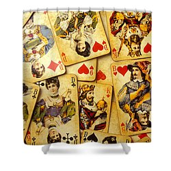 Old Playing Cards Shower Curtain by Garry Gay