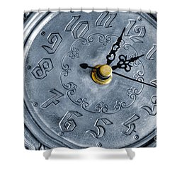 Old Silver Clock Shower Curtain by Carlos Caetano