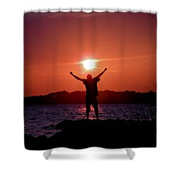 On Top Of The World Shower Curtain by Trish Tritz