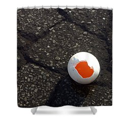 Open Broken Egg - View From Above Shower Curtain by Matthias Hauser
