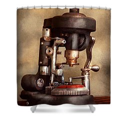 Optometry - Lens Cutting Machine Shower Curtain by Mike Savad