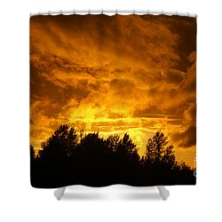 Orange Stormy Skies Shower Curtain by Randy Harris