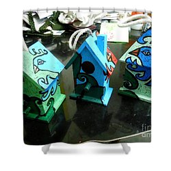 Painted Birdhouses Shower Curtain by Genevieve Esson