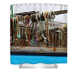 Painted Rope Coils Shower Curtain by Brenda Giasson