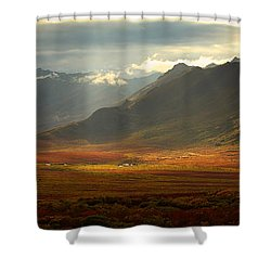 Panoramic Image Of The Cloudy Range Shower Curtain by Robert Postma